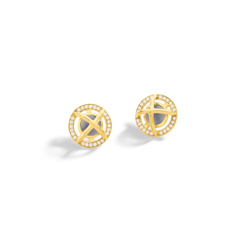 Diamond & Round Chalcedony Cabochon Stud Earrings Gold – Meteor Brilliant Stud Earrings | Yael Sonia