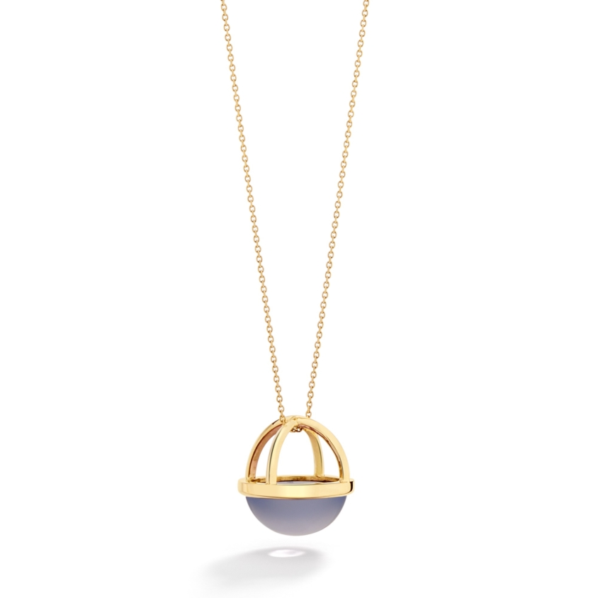 Gold 20mm Chalcedony Cabochon Necklace – Lunar Large Pendant | Yael Sonia
