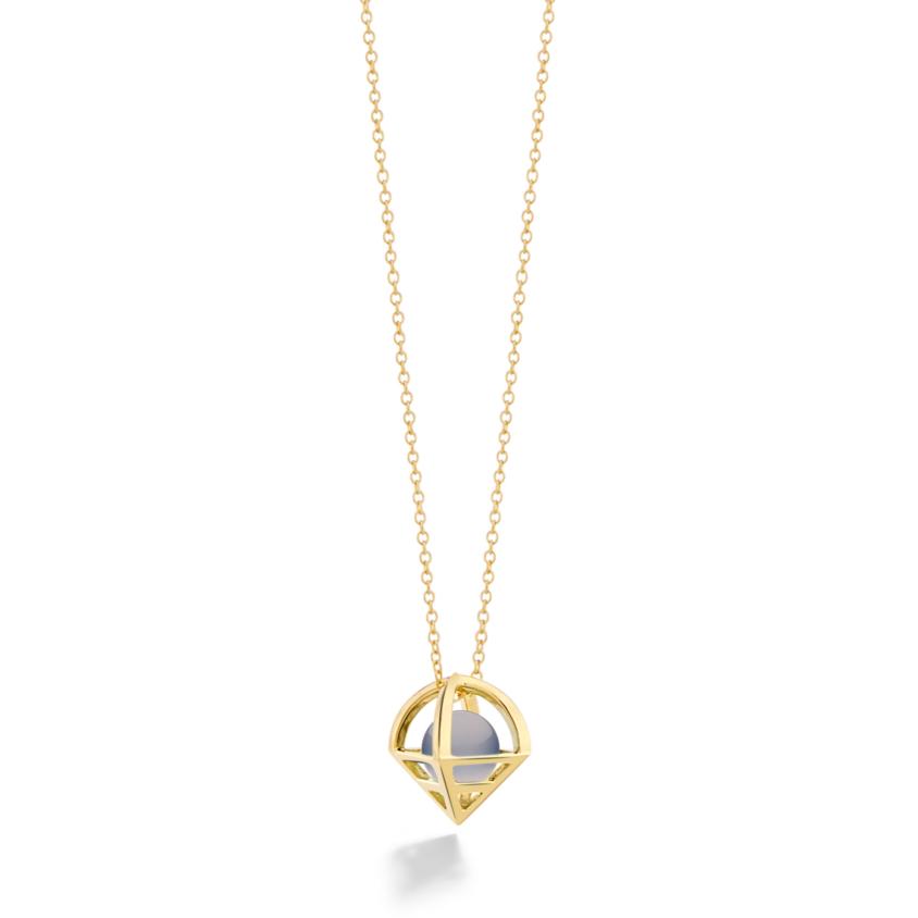 18k Gold Geometric Chalcedony Necklace – Solar Small Pendant   Yael Sonia