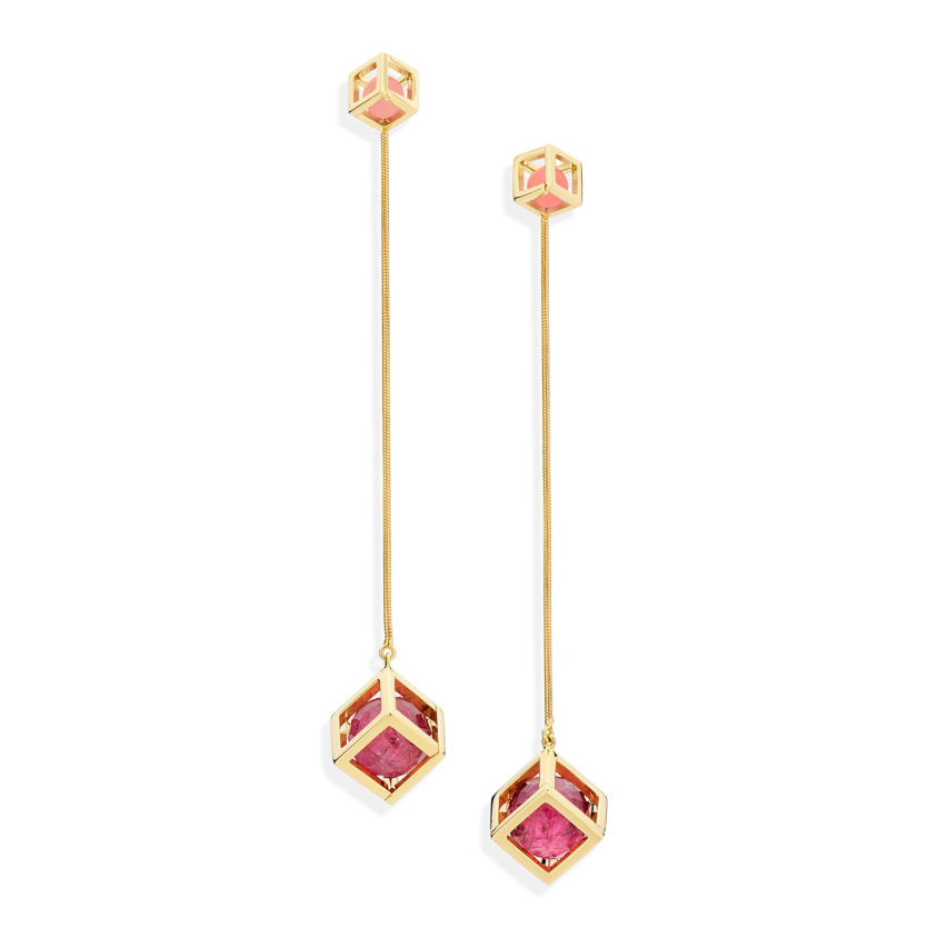 18k Gold Faceted Pink Tourmaline & Guava Quartz Long Earrings – Solo Flexible Long Earrings | Yael Sonia