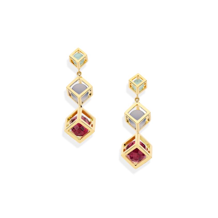 Gold Tiered Gemstone Drop Earrings – Chalcedony, Aquamarine & Pink Tourmaline Earrings | Yael Sonia