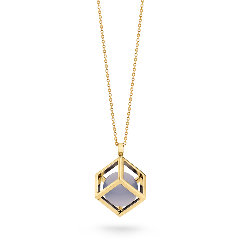18k Gold Round Chalcedony Perpetual Motion Necklace – Solo Pendant 15mm   Yael Sonia