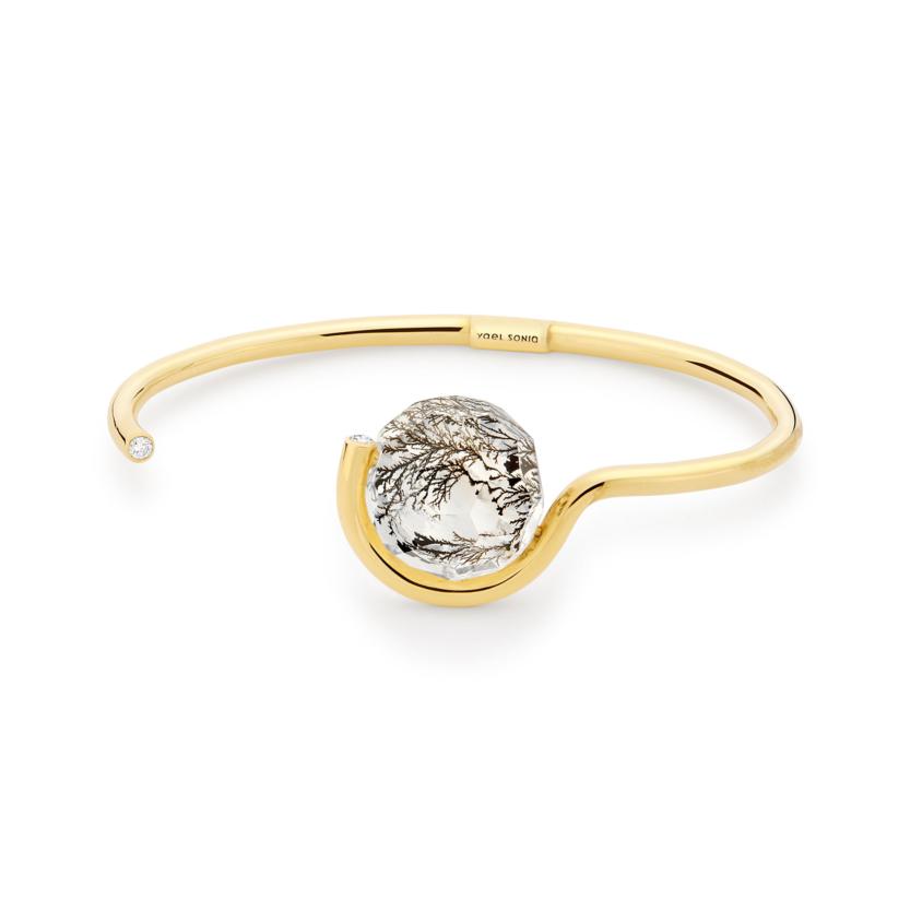 0.12 Carat Diamond & Faceted Dendrite Cuff Bracelet Gold – Faceted Brilliant Fancy Cuff | Yael Sonia