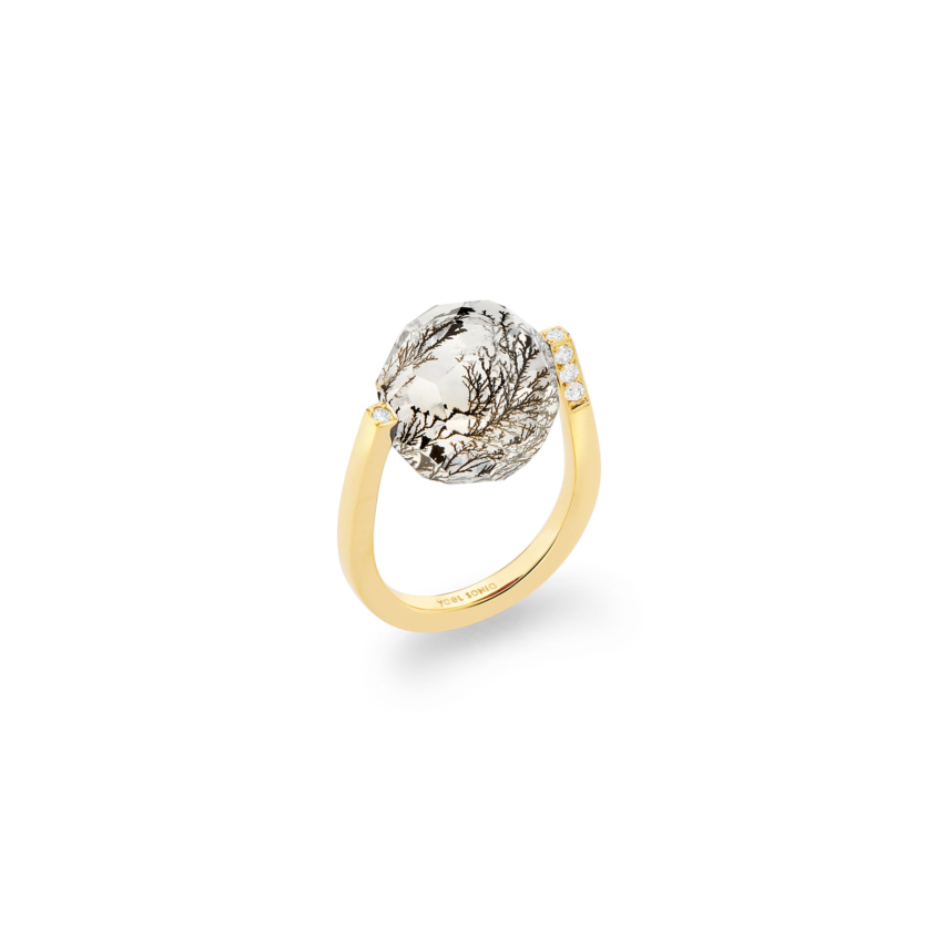 Diamond & Large Faceted Dendrite Ring Gold – Large Twist Ring | Yael Sonia