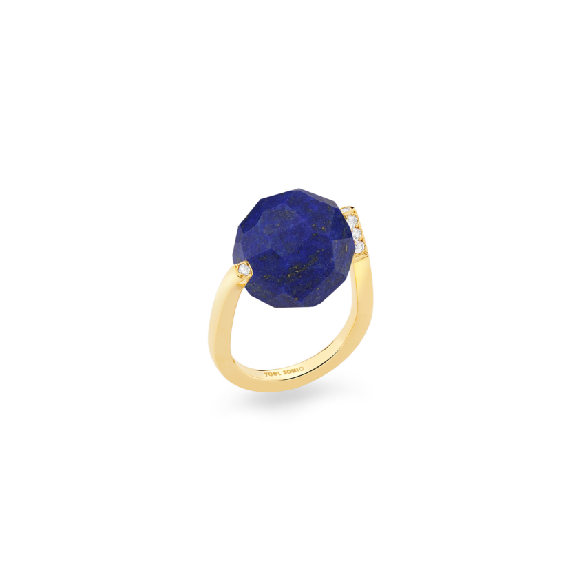 Diamond & Large Faceted Lapis Lazuli Ring Gold – Large Twist Ring | Yael Sonia