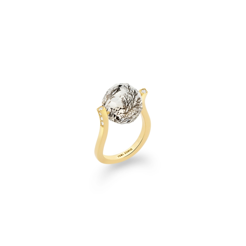 18k Gold, 0.12ct Diamonds & Faceted Dendrite Ring – Small Twist Ring | Yael Sonia