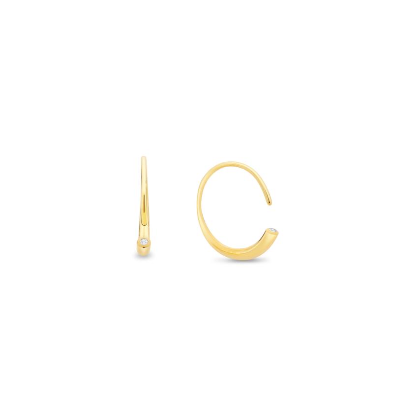 18k Yellow Gold 0.03 Carat Diamond Earrings – Asymmetric Reverse Hoop Earrings   Yael Sonia