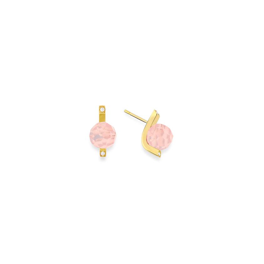 18k Gold Diamonds & Faceted Rose Quartz Stud Earrings – Small Faceted Stud Earrings | Yael Sonia