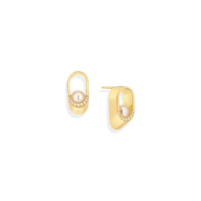6mm Akoya Pearl, 0.08 Carat Diamond Stud Earrings – Ellipse Earrings | Yael Sonia