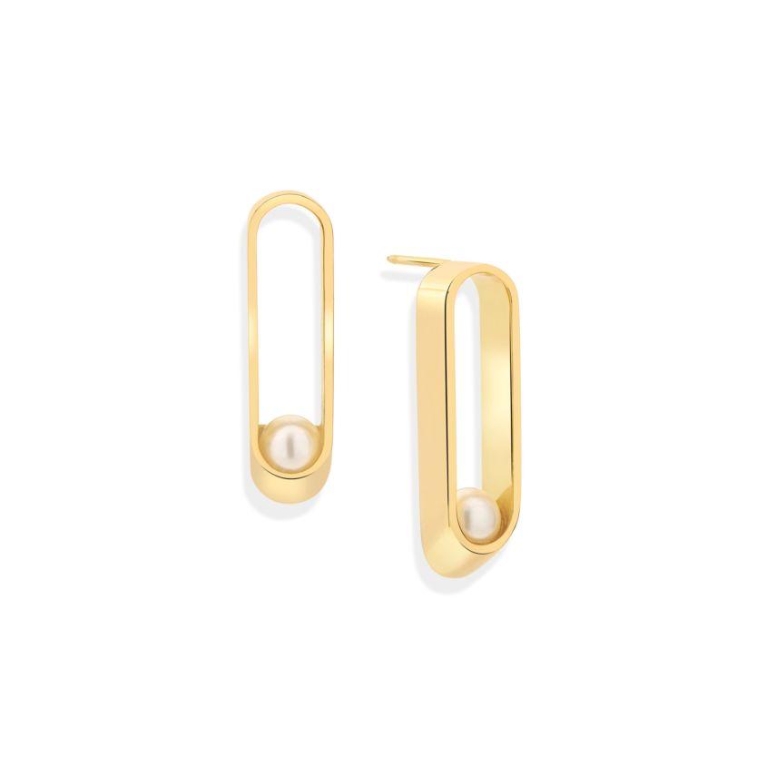 18k Yellow Gold Long 6mm Akoya Pearl Earrings – Ellipse Long Earrings | Yael Sonia