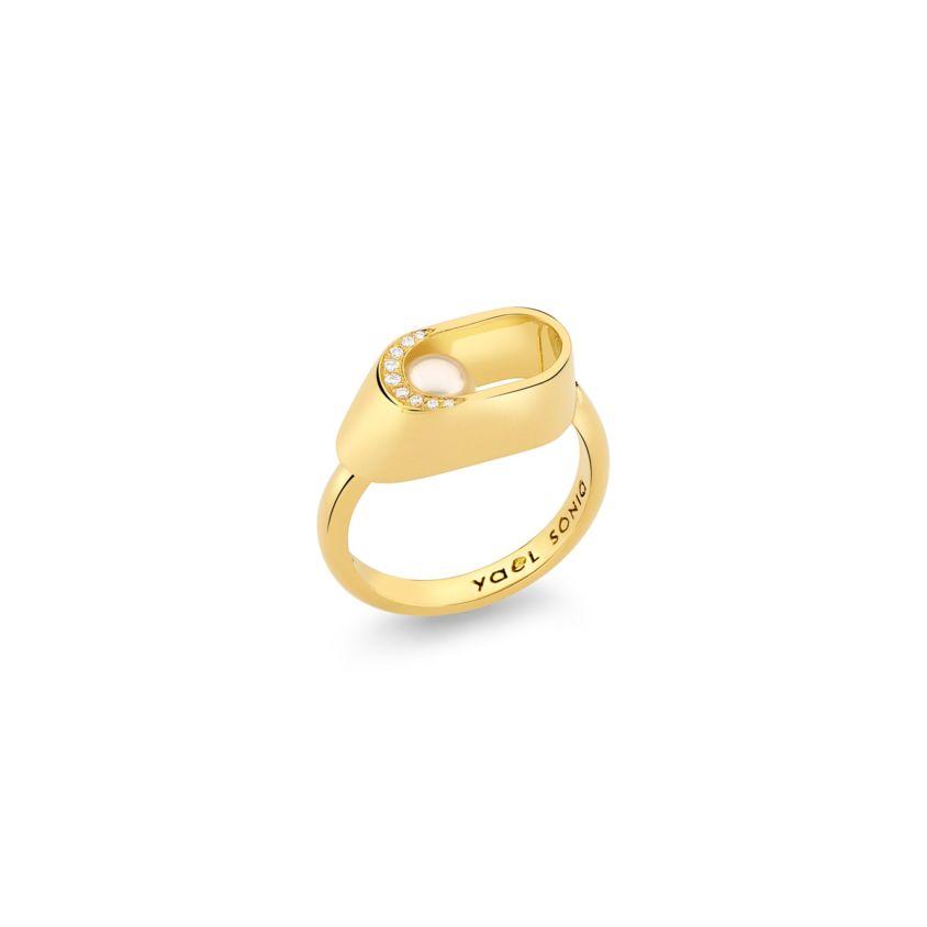 6mm Akoya Pearl, 0.04 Carat Diamond Ring Gold – Ellipse Ring | Yael Sonia