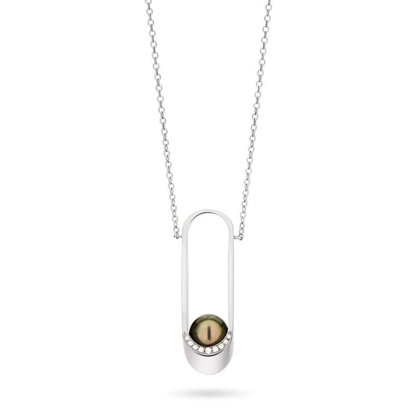 18k White Gold, Diamond & Tahitian Pearl Pednant Necklace - Ellipse Necklace | Yael Sonia