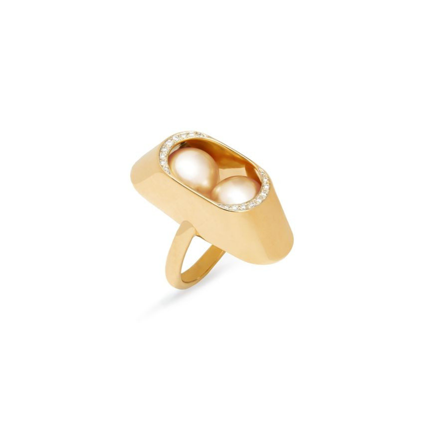 18k Yellow Gold, Diamond & Large Golden South Sea Pearl Ring - Cocoon Large Ring | Yael Sonia
