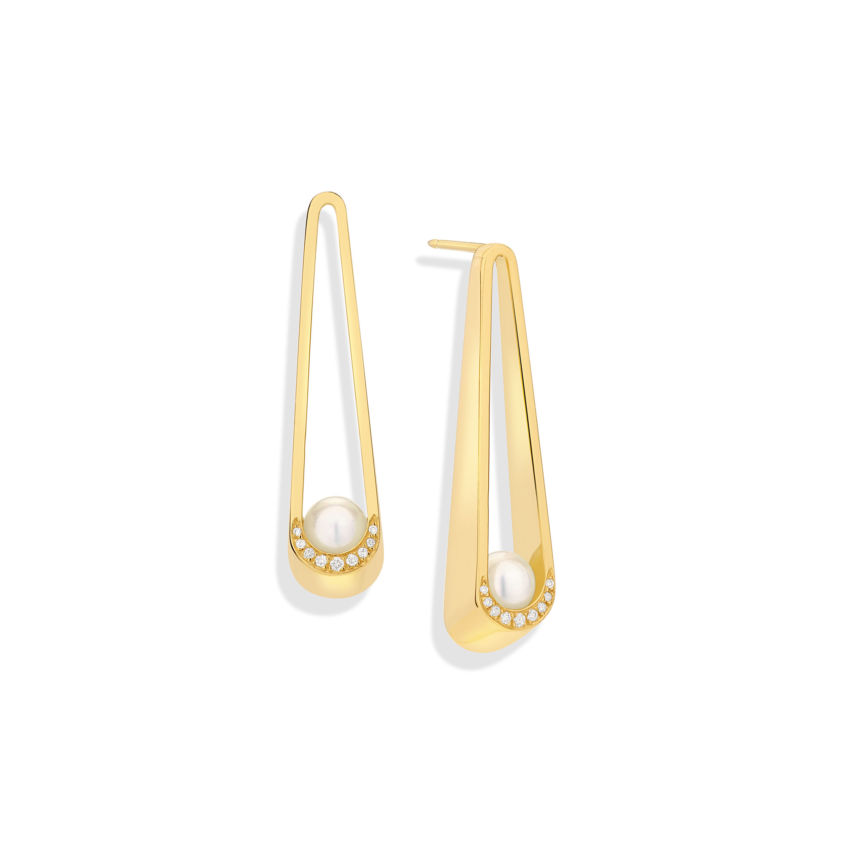 Elongated Earrings - 18k Yellow Gold Akoya Pearl Diamond Long Earrings | Yael Sonia