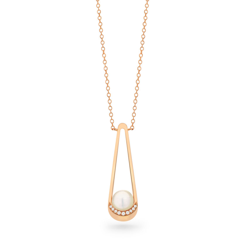 Elongated Diamond Necklace - 18k Rose Gold Akoya Pearl Necklace | Yael Sonia
