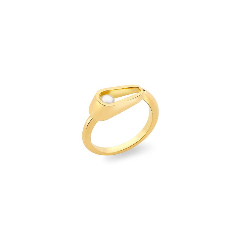 Elongated Pearl Ring - 18k Yellow Gold Elongated Ring | Yael Sonia